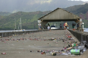 The Hanalei Pier is seen here on the day after a Fourth of July celebration.