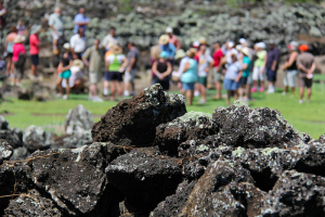Remnants of an ancient Hawaiian rockwall at Kaneiolouma Complex are seen here, while a group of visitors learn about the place from steward Rupert Rowe. Photo courtesy of Hui Malama O Kaneiolouma