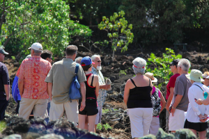 Steward Rupert Rowe is seen here talking to visitors from Hawaiian Islands Land Trust earlier this year.
