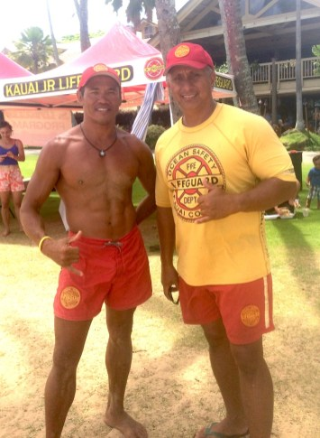 Kaua'i Junior Lifeguard Program staff Randy Ortiz, right, and Eugene Ancheta.