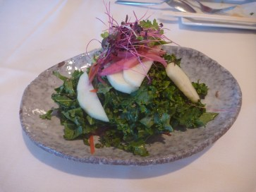 Crispy Duck Salad. Hiding under this screen of seasoned balanced kale and apples is duck confit.