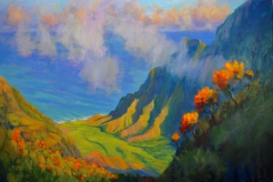 Painting of Kalalau Lookout by Marty Wessler
