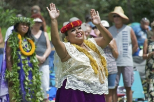 Queen Emma, played by Helen Leilani Santiago, performs hula during last year's Eo e Emalani i Alaka'i. Photo by Danny Hashimoto