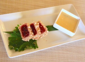 Rice Cracker Crusted Ahi Tuna with a citrus aioli green onion sauce. Like everything at the St. Regis, attention to detail is admirable, even down to the seven grains of sea salt on each delicate piece of seared fish.