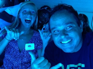 For Kaua'i editor Léo and me inside the largest commercial submarine in the world, in waters off Waikiki Beach and more than 100 feet below the surface. Behind us, an epic photobomb from the crew.