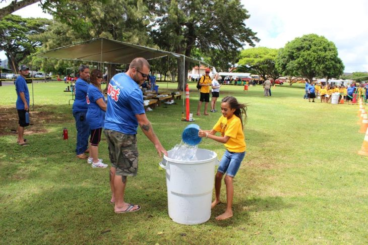 """In """"The Long Haul"""" activity at Kauai's Make a Splash festival, Sept. 24, students competed in a water-hauling game to better appreciate today's readily available water supplies. Students learned how easy access to water can cause people to use more than what's necessary."""