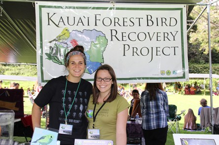 Maria Constantina, left, and Kayla Bonnette, of the Kaua'i Forest Bird Recovery Project