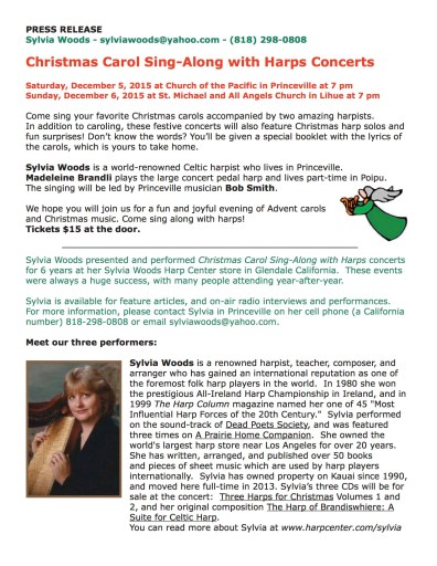 Press Release Christmas Harp Sing Along
