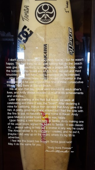 Andy Irons' surfboard that helped him clinch his first world title.