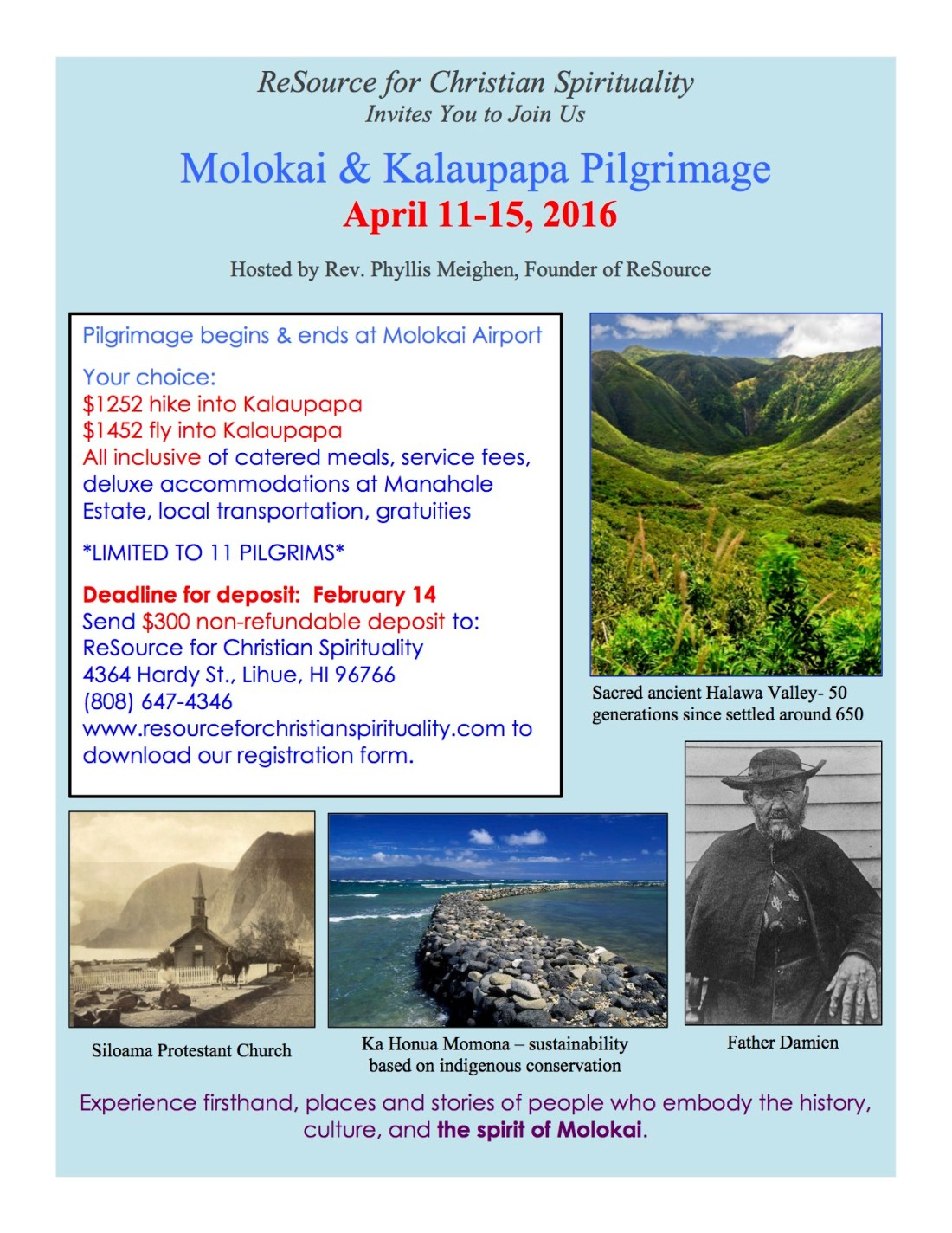 Molokai Pilgrimage full page flyer