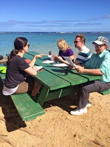 Two Canadian and two New Zealand visitors are seen here taking a survey about perceptions on the health and sustainable priorities based on their time spent at 'Anini Beach January 2016. Photo courtesy Francesca Koethe