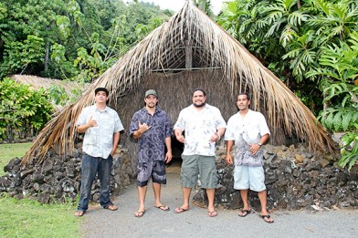 From left to right, Kamokila Hawaiian Village staff Kamalei Gonsalves, brothers and part owners William Kihei Fernandes and Benjamin Braga Fernandes, who are third-generation stewards of the village, and staff Owen Koishigawa.