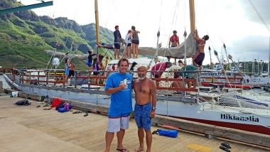 Capt. Dennis Chun and I soon after my first sailing trip in the Hikianlia.