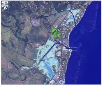 These two maps of Kapa'a show flooding with 3 feet of sea level rise (left), and 6 feet of sea level rise. Blue areas indicate water depth, with dark blue being the deepest. Green areas indicate low-lying areas not hydrologically connected to the ocean. Credit: NOAA/UH SeaGrant