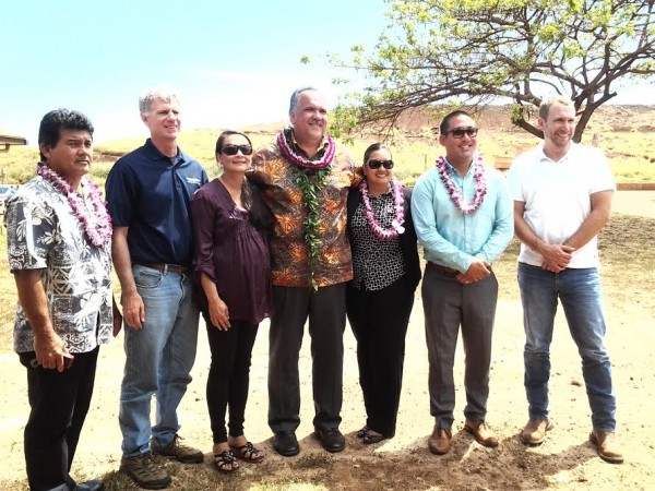 L-R: Public Works Environmental Services Manager Troy Tanigawa; Todd Svetin of Goodfellow Brothers; Governor's Liaison Carrice Gardner; Mayor Bernard P. Carvalho, Jr; Field Representative for Congresswoman Tulsi Gabbard Kaulana Finn; Representative Derek Kawakami; and Matt Heahlke of Goodfellow Brothers.