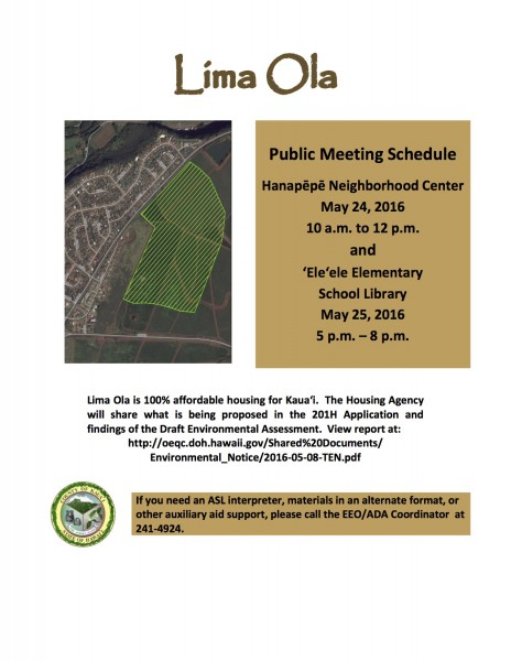 Lima Ola Public Meeting Flier