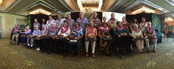 The nominees for Kaua'i's 2016 Outstanding Older American awards pose for a photo following the awards ceremony. Sitting, L to R: Nathan Kalama, Wilma Chandler, Richard Coller, Patricia Fallbeck, Keith Holdeman, Edward Kawamura, Elvira Kimokeo, Dr. Krishna Kumar, Shirley Simbre-Medeiros, Aileen Mawae, Gini Stoddard, and Tom Timmons Standing, L to R: Roger Caires, Carrice Gardner, Sen. Ron Kouchi, Rep. Derek Kawakami, Councilmember Aryl Kaneshiro, Council Chair Mel Rapozo, Councilmember KipuKai Kualii, Councilmember JoAnn Yukimura, Councilmember Gary Hooser, Pat Simpson, Managing Director Nadine Nakamura and Kealoha Takahashi, Executive on Aging.