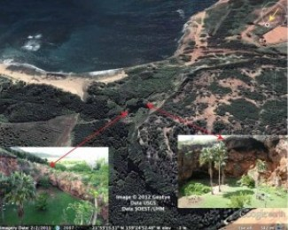 The only well-documented paleotsunami deposit in Hawaii from the 16th century is on Kaua`i. The Makauwahi sinkhole, on the side of a hardened sand dune, is viewed toward the southeast from an apparent altitude of 342 m. Inset photos show two of the wall edges, indicating the edges of the sinkhole. The east wall (left) is 7.2 m above mean sea level, and about 100 m from the ocean. Note for scale the people in the right image. Photo credits: R. Butler (left), Gerard Fryer (right), GoogleMaps (background). Figure from Butler et al., 2014.