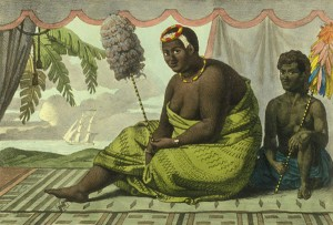 An 1822 hand-colored lithograph of Queen Ka'ahumanu wearing kapa, by Jean-Pierre Norblin de La  Gourdaine.