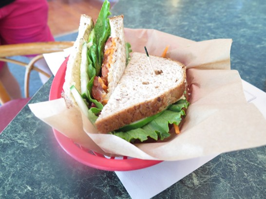 A good, honest veggie sandwich, made from produce grown from Kōkeʻe Lodge's garden at the Hale Puna. Visit halepuna.org to find more about this West Kaua'i cultural project.
