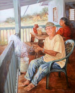 A painting of Uncle Charlie and his wife, Loke, by Marylin Newton.