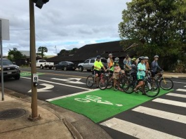 Bicyclists are seen here on the intersection of Hardy and Rice streets. Contributed photo by Bev Brody
