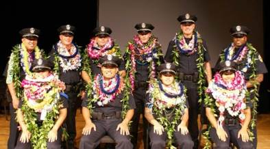The 87th Police Recruit Class poses for a group photo after receiving lei from family and friends following the pinning of the badges. Front Row, left to right, Bobilee Silva; Anthony Honorato; Ashley Carillo; and Ariel Ramos. Back Row, left to right, Eric Ogihara; Stacy Lockhart; Kalani Apilado; Kevin Gras; Scott Logue; and Derrick Kelley. Photo courtesy of Kaua'i Police Explorer Jadyn Mercer-Cayabyab.