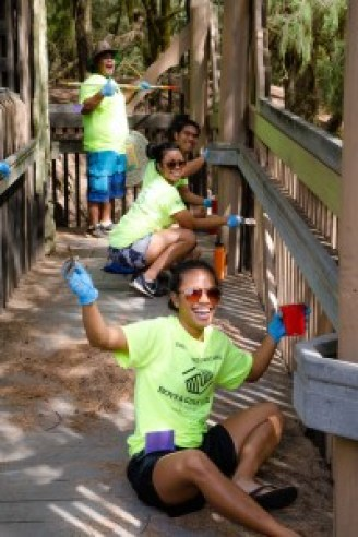Evan Schrader, JJ Alonzo, Lea Nuesca and Grace Peralta of the Boys & Girls Club of Hawaii-Lihue helped paint the Kamalani Kai Bridge. Continuing that job will be the main task for National Make A Difference Day in Lydgate Park 2016. Your help's needed too on Saturday, Oct. 22. Photo by Bonita Hensley