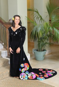Victoria Lam, wearing a holokū designed by the late Guadalupe Bulatao.