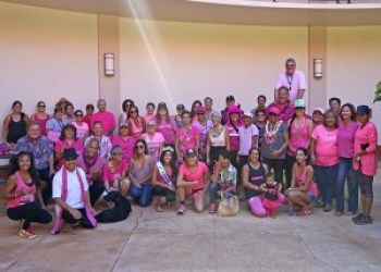 """County officials and community members came together during the 'Paint the Town Pink"""" walk in Līhuʻe Oct. 26."""