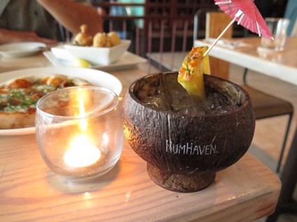 A coconut cup that you're likely to drink from at Sam's Ocean View.