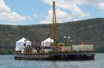 International Continental Scientific Drilling Programme drilling rig gathering cores on Lake Challa. Photo courtesy of UH