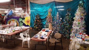 Santa's workshop at the Pi'ikoi Building in Lihu'e. Spanning over two decades, the Festival of Lights has become part of the local folklore and the heart of the holiday season, with dozens of Christmas trees and ornaments made mostly with recyclables.