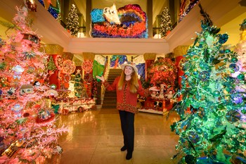 Elizabeth Freeman, founder and director of the Festival of Lights, inside the Historic County Building in Lihu'e. Photo courtesy of Festival of Lights/Ron Kosen