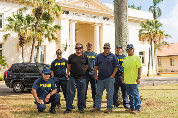 Firefighters from the Kaua'i Fire Department are some of the volunteers who help put the Festival of Lights together year after year. Photo courtesy of Festival of Lights/Ron Kosen