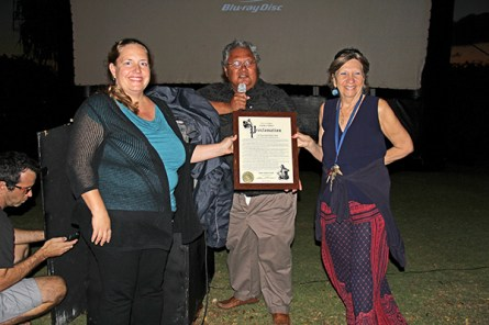 Left to right, Melissa McFerrin, Randy Francisco and Helaine Perez with a Mayoral Proclamation for the 2016 Creative Industries Month Kaua'i