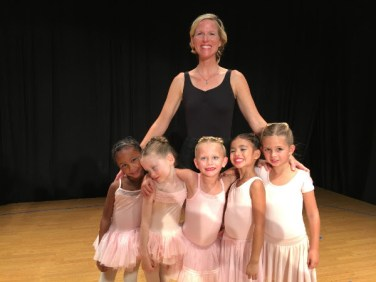 Ms. Hilary and some of her Ballet 1 class students pose for a photo after the show. Front row, from left to right, Cleo, Lucy, Lucy, Phoebe and Penelope. Contributed photo