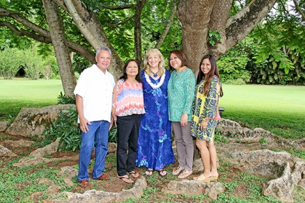 Left to right, First Degree Reiki Practitioner David Allayvila, Second Degree Reiki Practitioner Lolita Fernandes, Reiki Master Shalandra Abbey, Reiki Master Candidate Kaeo Bradford and Second Degree Reiki Practitioner Leah Lei Agustin, at the gardens at Kilohana.