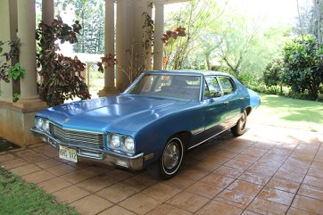 Mabel Wilcox's 1971 Buick Skylark parked at the porte cochere at the Grove Farm Homestead Museum in Lihu'e.