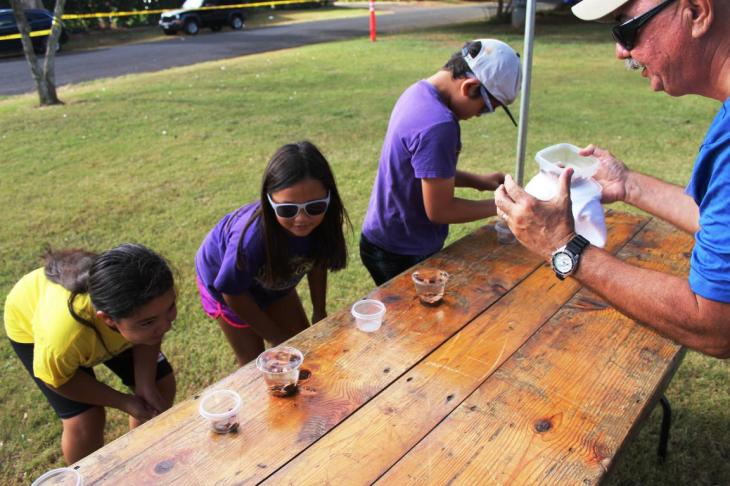 Students monitor water levels as it rises to the top of the cup at the H20 Olympics games activity tent, sponsored by Hawaii Rural Water Association at the Make a Splash festival.