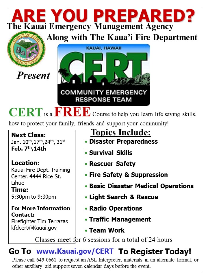 Cert Announces Upcoming Classes In Lhue For Kauai Onlinecert