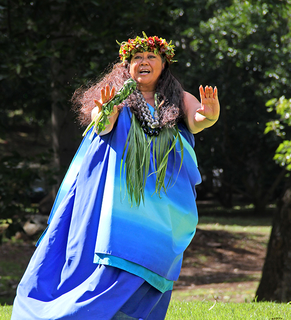 Kumu hula Kehaulani Kekua, of Halau Palaihiwa O Kaipuwai, is seen here chanting at the National Tropical Botanical Garden during the official opening of the newly revamped Hawaiian Life Canoe Plant Garden Jan. 17.