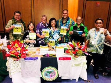 From left to right: Sen. Pres. Ron Kouchi, Cyndi Ayonon of the County of Kaua'i, Council Chair Mel Rapozo, Regina Carvalho, Mayor Bernard Carvalho Jr., Kaleo Carvalho of the County of Kaua'i, and Bobby Ayonon, Immediate Past President of the Kaua'i Filipino Chamber of Commerce, were among the state and Kaua'i contingent at Hawai'i on the Hill.
