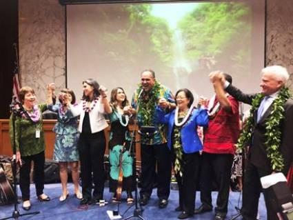 From left to right: Sen. Michelle Kidani, Sen. Donna Mercado Kim, U.S. Rep. Tulsi Gabbard, President and CEO of the Chamber of Commerce Hawai'i Sherry McNamara, Kaua'i Mayor Bernard Carvalho Jr., U.S. Sen. Mazie Hirono, Rep. Jimmy Tokioka and Honolulu Mayor Kirk Caldwell celebrate the success of Hawai'i on the Hill.