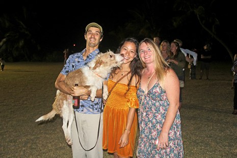 Left to right, Nicolai Barca, Tako the Conservation Dog, Rebekah Magers and Alisha Headlesski