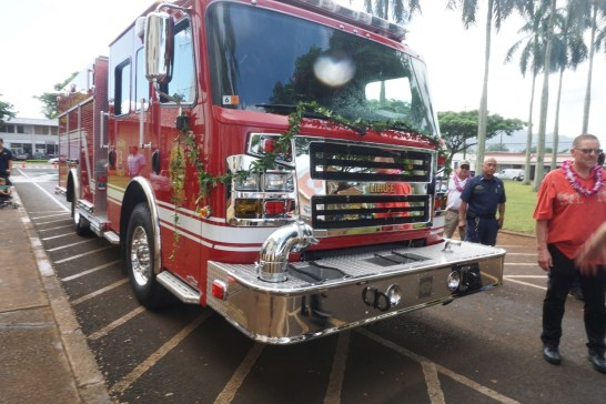 Shown in photo is the Līhu'e fire station's new Engine 3 fire apparatus. Photo courtesy of KFD