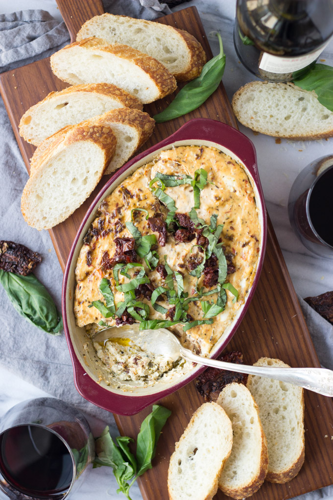 Sun-Dried Tomato and Pesto Dip - an addictive, delicious, comforting appetizer perfect for parties! | Fork in the Kitchen
