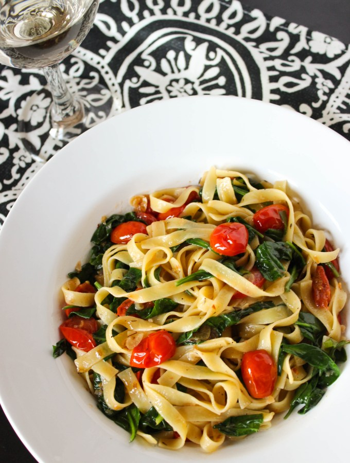 Easy Tomato and Spinach Tagliatelle for Two