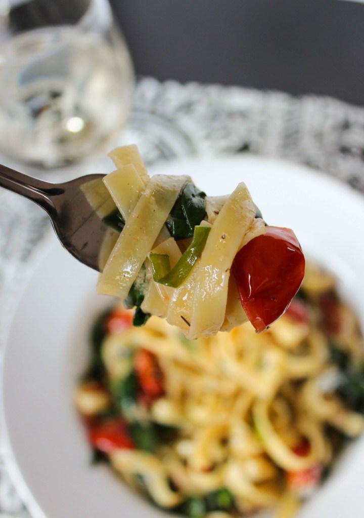 Easy Tomato and Spinach Tagliatelle