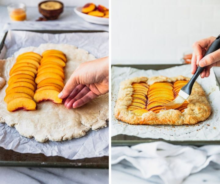peach galette assemly on baking sheet